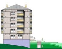 Het vector de flatblok van het beeldflatgebouw met koopflats  Royalty-vrije Stock Afbeeldingen