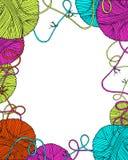 Het vector decoratieve kader van garenballen Royalty-vrije Stock Afbeeldingen