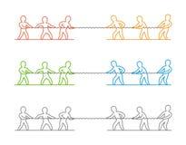 Het vector dunne embleem en het pictogram van de lijntouwtrekwedstrijd Stock Fotografie