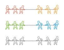 Het vector dunne embleem en het pictogram van de lijntouwtrekwedstrijd Stock Foto's
