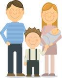 Het vector Gelukkige familieportret gesturing met Stock Afbeeldingen