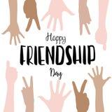 Het vector gelukkige vriendschapsdag van letters voorzien met de achtergrond van kinderenhanden Stock Fotografie