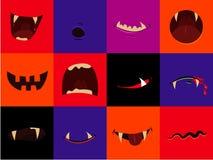 Het vector geplaatste pictogram van Halloween - de monden van het beeldverhaalmonster Vampier, weerwolf, pompoen, spook Royalty-vrije Stock Foto