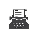 Het vector, gevulde vlakke teken van het schrijfmachinepictogram, stevig pictogram dat op wit wordt geïsoleerd Copywritingssymboo Stock Foto's
