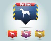 Het vector Glanzende Pictogram/de Knoop van de Dierenwinkel en multicolore Vector Illustratie