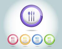 Het vector Glanzende pictogram van het Diner en multicolored Vector Illustratie