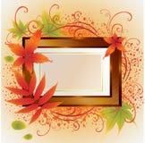 Het vector gouden frame met de Herfst doorbladert. Dankzegging Royalty-vrije Stock Fotografie