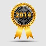 Het vector gouden teken van 2014, etiketmalplaatje Stock Foto's