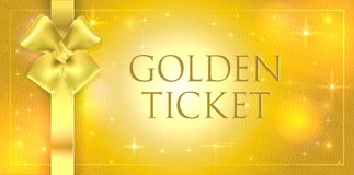 Het vector Gouden volume schittert achtergrond met gouden zijde dubbel boog en lint Het gouden kaartje met ster polijst het glanz stock afbeelding