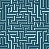 Het vector grafische abstracte patroon van het meetkundelabyrint Blauwe Naadloze Geometrische Achtergrond Royalty-vrije Stock Afbeelding