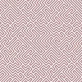 Het vector grafische abstracte patroon van het meetkundelabyrint rode naadloze geometrische labyrintachtergrond Royalty-vrije Stock Afbeeldingen