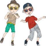 Het vector grappige hipsterjongens dansen Stock Fotografie