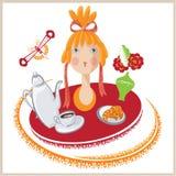 Het vector grappige meisje gaat ontbijten Royalty-vrije Stock Foto's