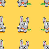 Het vector grappige naadloze patroon van beeldverhaalkonijntjes Royalty-vrije Stock Foto