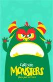 Het vector groene en slijmerige monster van Halloween met grote tanden en geopende mond wijd geïsoleerd vector illustratie