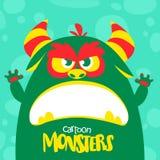Het vector groene en slijmerige monster van Halloween met grote tanden en geopende mond wijd geïsoleerd royalty-vrije illustratie