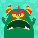 Het vector groene en slijmerige monster van Halloween met grote tanden en geopende mond wijd geïsoleerd stock illustratie