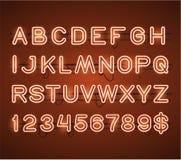 Het vector het Gloeien Oranje Alfabet van de Neonbar Stock Foto