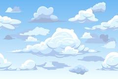 Het vector horizontale naadloze patroon van de beeldverhaal blauwe bewolkte hemel vector illustratie