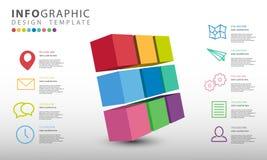 Het vector infographic, Abstracte 3D malplaatje van bedrijfsillustratieinfographics met 9 opties vector illustratie