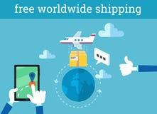 Het vector infographic illustratie vrije wereldwijd verschepen Royalty-vrije Stock Foto