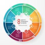 Het vector infographic malplaatje van de bedrijfscirkeldiagramcirkel Stock Foto's