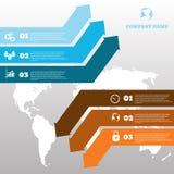 Het vector infographic malplaatje van het pijlenontwerp voor de grafiek van de Webbrochure Royalty-vrije Stock Foto's