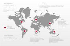 Het vector infographic symbool van de wereldkaart De kaartwijzers van noord-zuid Amerika, Europa, Azië, Afrika, Australië Interna Stock Fotografie