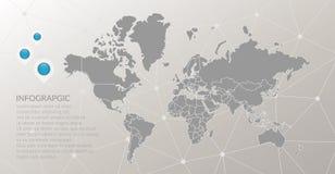 Het vector infographic symbool van de wereldkaart De pictogrammen van de kaartwijzer, vatten veelhoekige verbindingsachtergrond m Stock Afbeeldingen