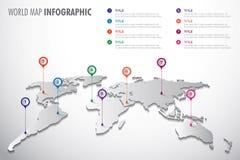 Het vector infographic symbool van de wereldkaart Pictogram met kleurenwijzers Globaal illustratieteken stock illustratie