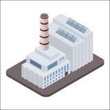 Het vector isometrische industriële pictogram van fabrieksgebouwen stock illustratie