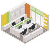 Het vector isometrische pictogram van de bureauruimte Stock Afbeeldingen
