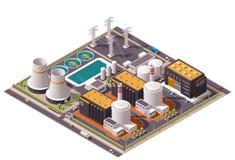 Het vector isometrische pictogram van de kernenergieinstallatie Stock Afbeeldingen