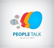 Het vector kleurrijke embleem van het mensenpraatje, pictogram Royalty-vrije Stock Fotografie