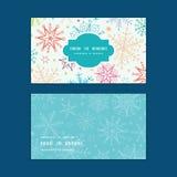 Het vector kleurrijke horizontale kader van krabbelsneeuwvlokken Stock Afbeelding