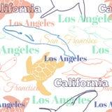 Het vector Kleurrijke van de Stedendieren van Reiscalifornië Naadloze Patroon met Los Angeles, San Francisco, Schildpadden, en Wa Stock Foto