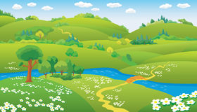 Het vector Landschap van de Zomer Royalty-vrije Stock Afbeelding