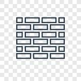 Het vector lineaire die pictogram van het bakstenen muurconcept op transparante bedelaars wordt geïsoleerd vector illustratie
