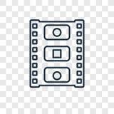 Het vector lineaire die pictogram van het fotogramconcept op transparante bac wordt geïsoleerd royalty-vrije illustratie