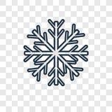 Het vector lineaire die pictogram van het sneeuwvlokconcept op transparante bac wordt geïsoleerd stock illustratie