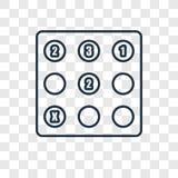 Het vector lineaire die pictogram van het Sudokuconcept op transparante backgr wordt geïsoleerd stock illustratie