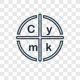 Het vector lineaire pictogram van het Cmykconcept op transparante backgrou royalty-vrije illustratie