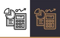 Het vector lineaire pictogrammen REKENSCHAP GEVEN van financiën, het beleggen Hoog - kwaliteit Stock Foto