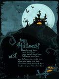Het vector malplaatje van Halloween met achtervolgd kasteel vector illustratie