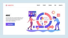 Het vector malplaatje van het websiteontwerp Behendige projectleiding en Scrumtaakraad Behendige software-ontwikkeling en Kanban royalty-vrije illustratie