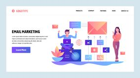 Het vector malplaatje van het websiteontwerp Digitale en e-mail marketing Het landen paginaconcepten voor website en mobiele ontw royalty-vrije illustratie
