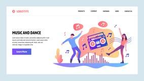 Het vector malplaatje van het websiteontwerp Mensen het luisteren muziek en het dansen Landingspaginaconcepten voor website en mo vector illustratie