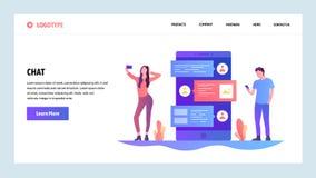 Het vector malplaatje van het websiteontwerp Online Internet-praatje en mobiele telefoonboodschapper app De mensen spreken op een royalty-vrije illustratie