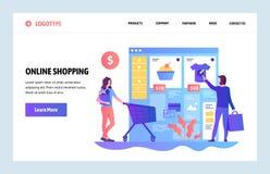 Het vector malplaatje van het websiteontwerp Online winkelend, Internet-klerenopslag Verkoop en consumentisme Het landen paginaco royalty-vrije illustratie