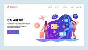 Het vector malplaatje van het websiteontwerp Plan uw reis en ga reis En route die schaven boeken Het landen paginaconcepten voor vector illustratie